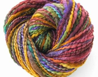 Handspun Yarn Hand Dyed BFL Wool Silk Super Bulky Yarn Art Yarn Thick and Thin Hand Spun - Wine Country
