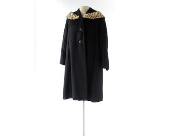 Vintage 1940s Coat | Leopard Print Collar | Black Wool Coat | S M