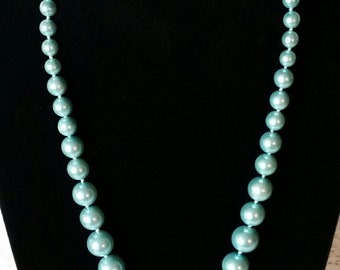Vintage Blue Necklace, Gorgeous, Caribbean Blue, Vintage 60's, Long, Excellent, New, Old Stock, Graduated Chunky, Faux Pearls, Necklace
