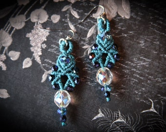 Classy Blue Macrame Earrings ~ Dangle Earrings ~ Macrame Jewelry ~ Turquoise ~ Beaded