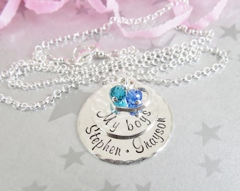 Hand Stamped Mommy Necklace - Name Pendant - My Boys - Personalized Jewelry - Mom of Boys Jewelry - Sterling Silver