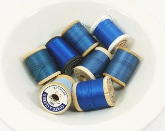 Shades of Blue Thread on Wooden Spools, Vintage Blue Spools of Thread Set of 8
