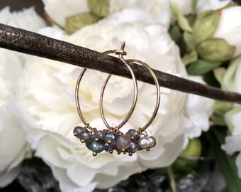 Labradorite Hoop Earrings  Handmade Gold Fill Hoops Mystic Labradorite Cluster Hoop Minimalist Jewelry Sparkly Hoop Earrings