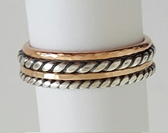 Stackable Rings - sterling silver rings - gold rings - set of 4 stacking rings - thumb rings