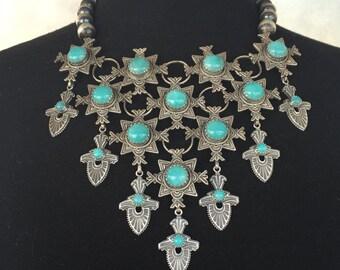 Viva la Reina Long Live The Queen Sterling Silver Peruvian Amazonite Aqua Chalcedony Neck Adornment