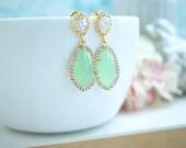 Large Teardrop LUX GOLD Plated Cubic Zirconia, Light Mint Dangle Earrings, Bridesmaid Gift, LUX Mint Green Wedding Earrings, Bridal Jewelry