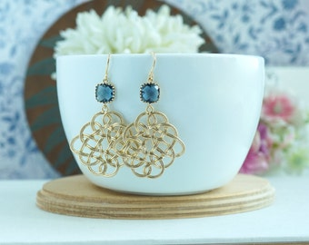 Navy Blue Gold Plated, Filigree Feather Chandelier Dangle Earrings. Wedding Bridal Jewelry. Bridesmaids Gifts, Navy and Gold Wedding,