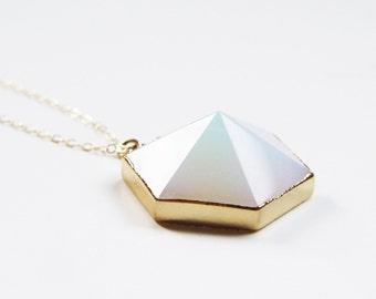 SALE Opal Hexagon Gold Necklace OOAK