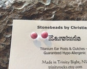Rhodonite 6mm Ear Studs Earrings EaringsTitanium Post and Clutch Pink Handmade in Newfoundland Stone of  Love Hypo Allergenic