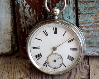 Antique English Fuse Silver 1880's Pocket Watch by avintageobsession on etsy...20% Discount