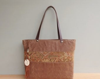Monogrammed Waxed Canvas Tote with Southwestern Accent, Personalized Tote Bag , Saddle Brown Boho Look, Zipper Tote, Engraved Initial Tassel