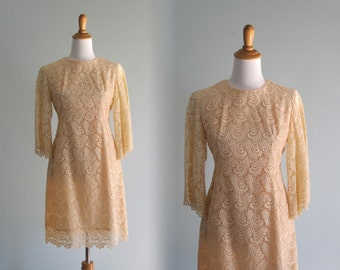 Romantic 60s Pale Apricot Lace Cocktail Dress - Vintage Cluny Lace Dolly Dress - Vintage 1960s Dress S