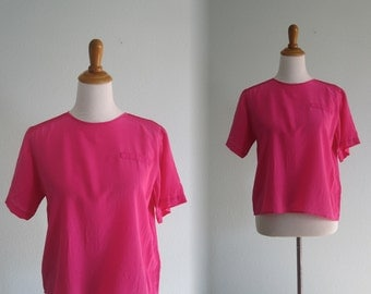 Super Bright 80s Hot Pink Silk Blouse - Vintage Cropped Silk Top in Bright Pink Silk - Vintage 1980s Top M L