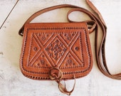 vintage tooled leather crossbody mini bag Moroccan