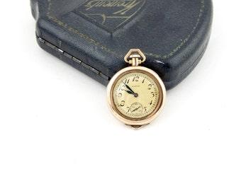 1923 Antique Elgin Pocket Watch | 14k Rose Gold Filled Art Deco Pocket Watch Pendant | Elgin Ladies Watch