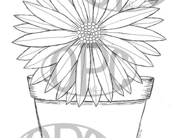 Digital Stamp Clay Pot Daisy