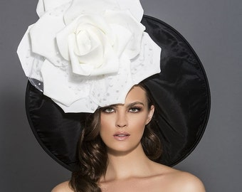 Black and white kentucky derby hat, Big Gardenia derby hat, Rose derby hat, Melbourne cup hats