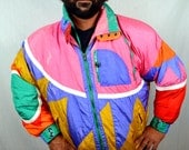 Reserved kristen Amazing 80s Vintage Rainbow Geometric Duck Down Feather Winter Puffy Ski Rainbow Jacket Coat