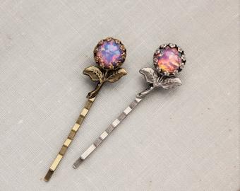 Fire Opal Flower Hair Pins. Antique Silver or Antique Brass