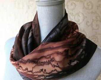 Silk Scarf Handpainted in Brown and Black