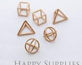 3D Geometric Circle Triangle Square Cube Rose Gold Pendant (3D04-RG)