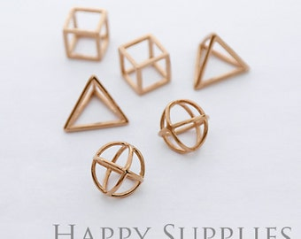 3D Geometric Circle Triangle Square Cube Rose Gold Pendant (3D04-RG)