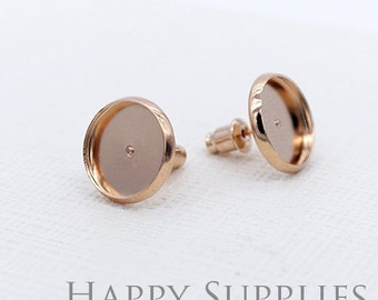 10pcs 12mm Nickel Free - High Quality Rose Golden Brass Earposts With Round Pad (GX218-R)