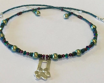 Artisan Sterling Silver Paw Pendant Necklace and Earring Set with Czech Glass and Swarovski Crystal Beads