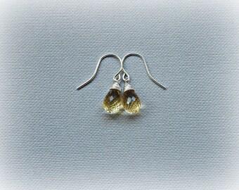 November birthstone earrings, citrine earrings, petite dangle earrings, golden citrine silver earrings, petite yellow gemstone drop earrings