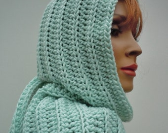 Hooded Scarf Mint Green - Pastel Light Green Scarf- Pixie Hood - Hat and Scarf - Crochet Hood, Soft Green Hat and Scarf Set
