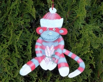 Hand Painted Sock Monkey  Christmas Ornaments / Name Tag/ Holiday Wreath Decor