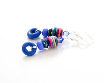 Blue Glass Bead Earrings. Long Fiber Bead Earrings. Whimsical Boho Gypsy Earrings. Lampwork Jewelry.