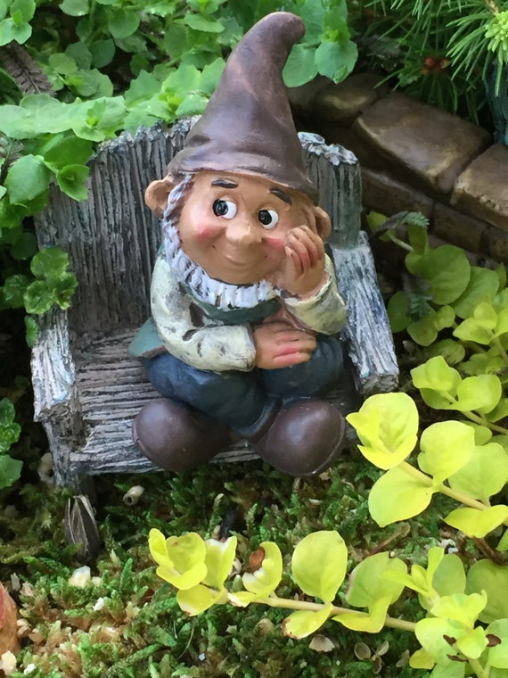 Miniature Sitting Garden Gnome Figurine, Fairy Gnome Garden Accessory, Miniature Garden, Garden Decor, Topper, Shelf Sitter