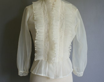 Vintage SHEER Accordion Collar VICTORIAN Style Lingerie Nylon Top (m)