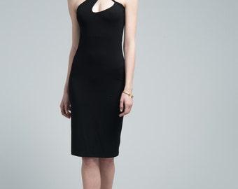 Black Halter Dress / Party Dress / Cocktail Dress / Strap Dress / Pencil Dress / Short Dress / marcellamoda - MD633