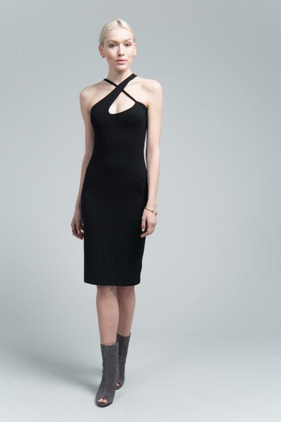 NEW Black Halter Dress / Party Dress / Cocktail Dress / Strap Dress / Pencil Dress / Short Dress / marcellamoda - MD633