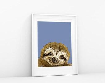 Sloth Art Print Wall Art Sloth Drawing Modern Decor Sloth Print Nursery Artwork Kids Room Art Cute Animal Painting Poster 8.5x11 Nursery Art