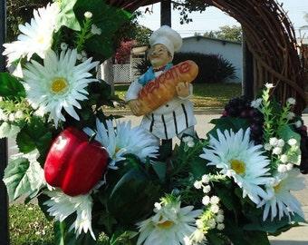 Free Shipping Wreath Wall Decor Italian Chef Fruits Vegetables Silk Flower