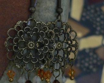 chandelier earring, brown earring, crystal earring, filigree earring, swarovsky crystal, boho earring, dangle earring, gift for women