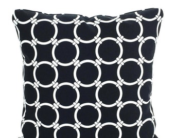 Black Pillow Covers, Decorative Throw Pillows, Cushion Covers Black  White Linked, Chain Link Cushion, Sofa Couch Bed, One or More ALL SIZES