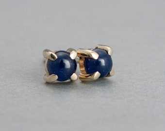 Blue Sapphire Cabochon Studs in 14k Yellow Gold Prong Settings - Ready to Ship