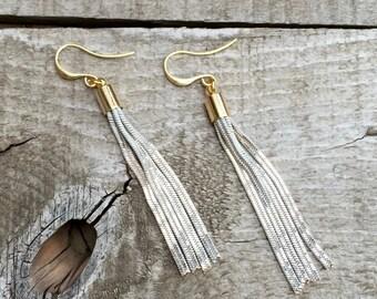 Edgy Rocker Ivory Gold Metal Tassel Dangle Drop Gold Earrings
