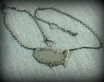 United States necklace, Hometown necklace, Sterling silver USA necklace