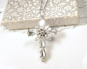 EXQUISITE Art Deco Rhinestone Cross Necklace, Vintage Crystal Pendant Bridal Necklace,  Silver Pave Christian Vintage Wedding 1930s - 1940s