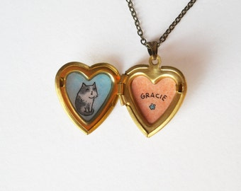 Custom Pet Portrait Necklace with Personalized Name - Customized Pet Jewelry - Hand Painted Heart Locket Pendant