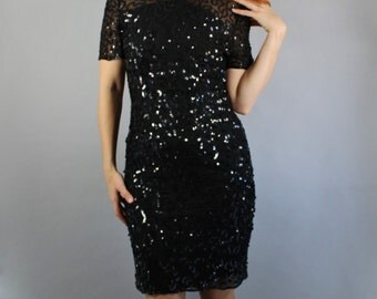 Sequin Dress, Little Black Dress, Vintage 80s, Cocktail Party, Flapper, Retro 20s, Performer, Glam, Knee Length, Size Medium, FREE SHIPPING