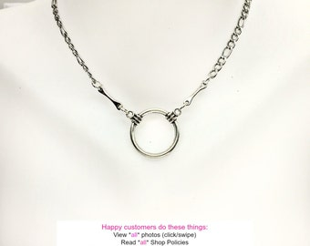 BDSM ETERNITY Ring Day Collar *24/7* Wear 316L Stainless Steel FIGARO Chain Submissive Necklace or Choker Lockable or not