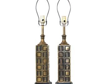Pair Mid-Century Cast Metal Chessboard Lamps