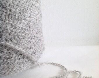ALPACA and ORGANIC WOOL Boucle yarn light grey