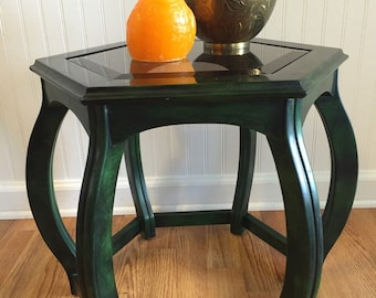 ASIAN ACCENT TABLE Hexagon Table Green Wood with Beveled Glass Chinoserie, Mid Century, at Modern Logic